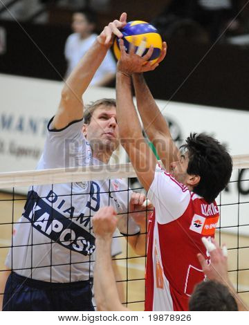 KAPOSVAR, HUNGARY - JANUARY 22: Kovacs (L) and Guilherme (R) in action at a Middle European League volleyball game Kaposvar (HUN) vs. HotVolleys Wien (AUT), January 22, 2010 in Kaposvar, Hungary.