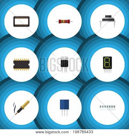 Flat Icon Technology Set Of Destination, Repair, Receptacle And Other Vector Objects