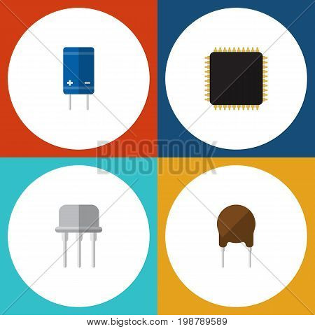 Flat Icon Electronics Set Of Resist, Cpu, Triode And Other Vector Objects
