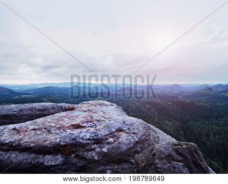 Melancholy Sunrise Above Rocks And Fresh Green Forest, Colorful Valley Full Of Dense Mist