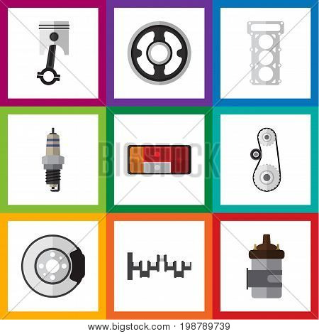 Flat Icon Parts Set Of Metal, Headlight, Belt And Other Vector Objects