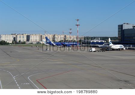 A view from the waiting room on the airfield at Vnukovo International Airport (Moscow) - July 2017.