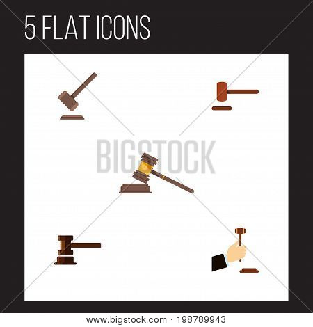 Flat Icon Court Set Of Law, Government Building, Tribunal And Other Vector Objects