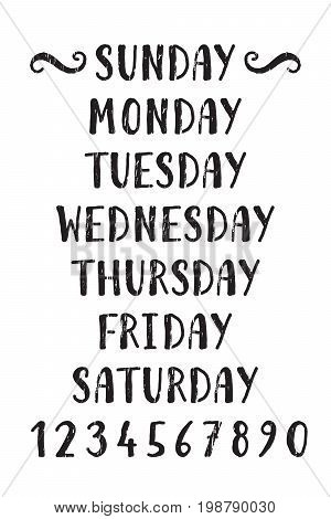 Handwritten grunge lettering days of the week and numbers from zero to nine. Hand drawn calligraphy lettering for diary, calendar, planner, poster, greeting, save the date card. Vector illustration.