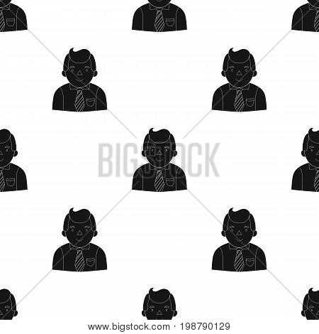 Businessman icon in black design isolated on white background. Conference and negetiations symbol stock vector illustration.