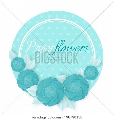 Flowers background with three dimensional blue rose on blue polka dot circle isolated on white background vector illustration, invitational banner with place for text