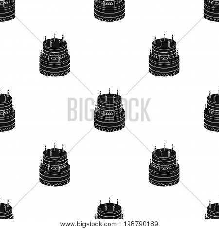 Birthday cake icon in black design isolated on white background. Cakes symbol stock vector illustration.