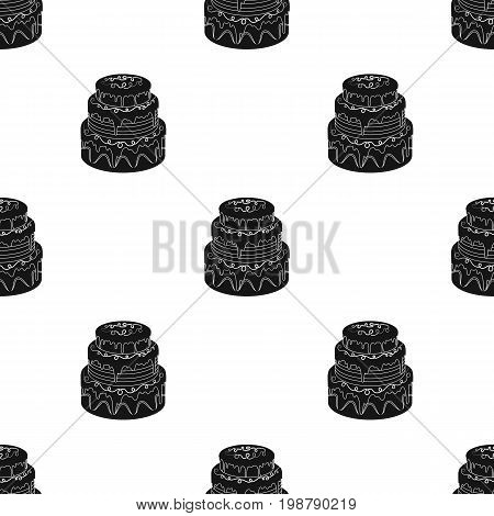 Blue three-ply cake icon in black design isolated on white background. Cakes symbol stock vector illustration.