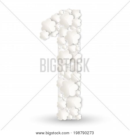 Figure one made of white paper flowers vector illustration isolated on white background. Number 1 for first year anniversary birthday celebration decorative element