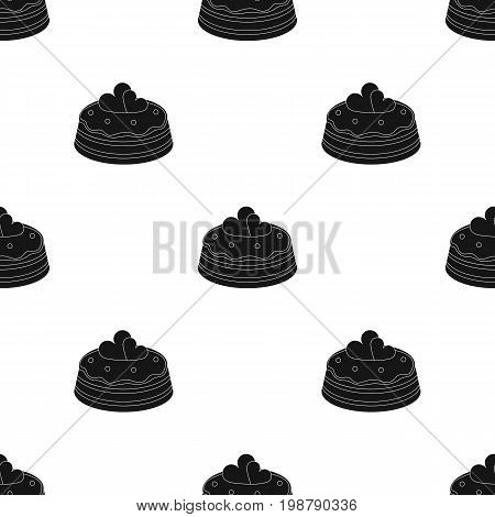 Cake with hearts icon in black design isolated on white background. Cakes symbol stock vector illustration.