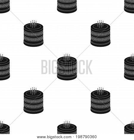 Bicolor cake icon in black design isolated on white background. Cakes symbol stock vector illustration.