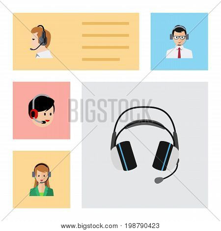 Flat Icon Telemarketing Set Of Earphone, Operator, Telemarketing And Other Vector Objects