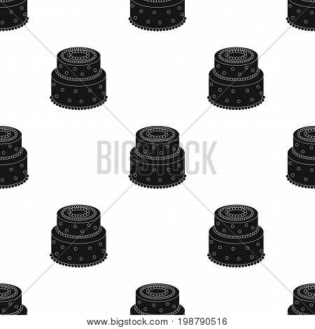 Green cake with yellow dots icon in black design isolated on white background. Cakes symbol stock vector illustration.