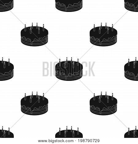 Chocolate cake icon in black design isolated on white background. Cakes symbol stock vector illustration.