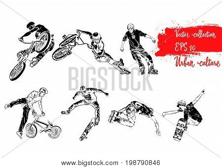 Set of extreme sportsmen. Rollers bicyclists and skaters. Extreme theme modern print. Vector design elements. Isolated on white