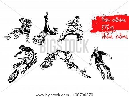 Set of extreme sportsmen. Rollers bicyclists and breakdancers . Extreme theme modern print. Vector design elements. Isolated on white