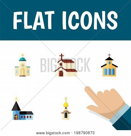 Flat Icon Christian Set Of Catholic, Christian, Religious And Other Vector Objects