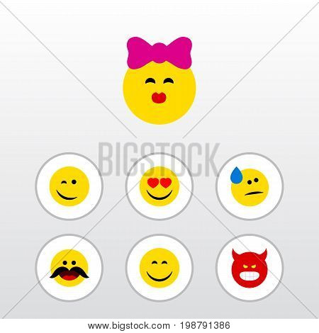 Flat Icon Face Set Of Love, Tears, Winking And Other Vector Objects