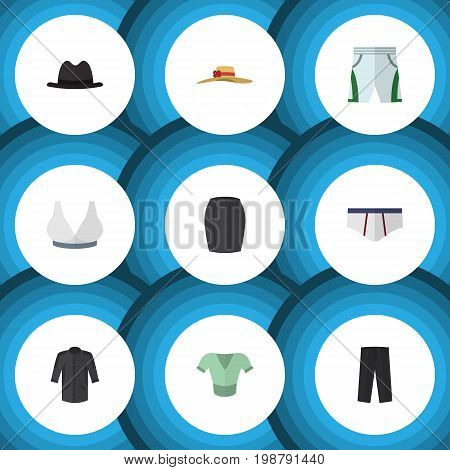 Flat Icon Garment Set Of Stylish Apparel, Panama, Elegant Headgear And Other Vector Objects