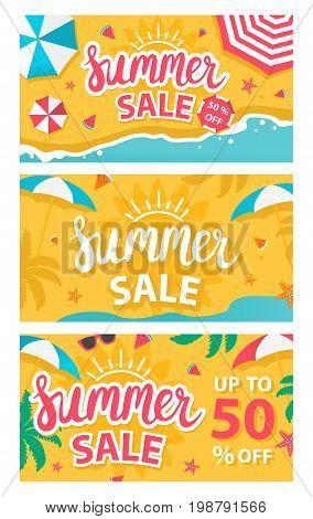 Set of three summer sale banners. Vector illustration