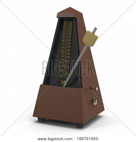 Classic metronome isolated on white background. 3D illustration