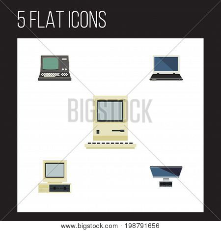 Flat Icon Computer Set Of Computer, Computing, Notebook And Other Vector Objects