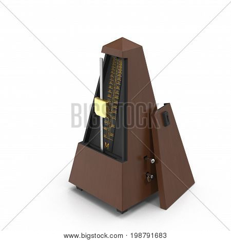 Vintage wooden metronome music timer on white background. 3D illustration