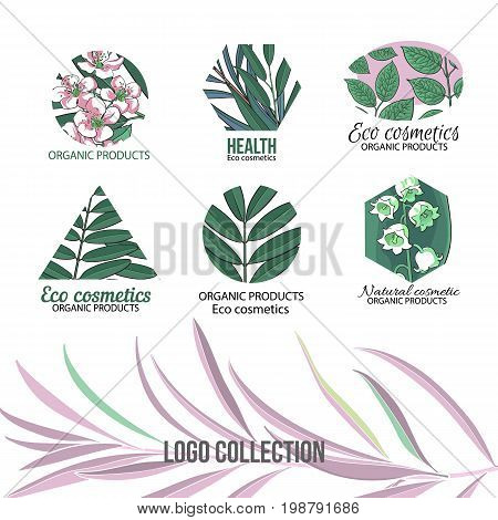 Natural, eco cosmetics logo set with hand drawn, sketch style leaves and flowers, vector illustration on white background. Round, hexagon and triangular logos with hand drawn leaves and flowers