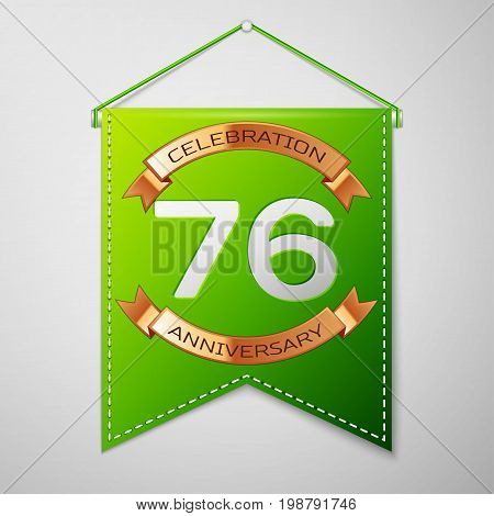 Realistic Green pennant with inscription Seventy six Years Anniversary Celebration Design on grey background. Golden ribbon. Colorful template elements for your birthday party. Vector illustration