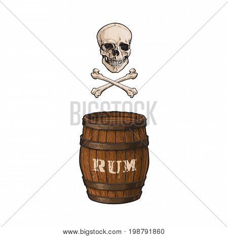 vector wooden rum barrel, skull and cross bones isolated illustration on a white background. Cartoon oak old keg, alcohol storage, jolly roger. Symbol of pirates, adventure, treasure