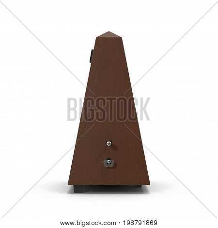 Musical metronome on white background. 3D illustration