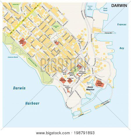 Street map of the city of darwin, Northern Territory, Australia
