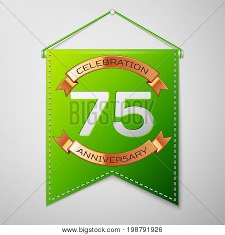 Realistic Green pennant with inscription Seventy five Years Anniversary Celebration Design on grey background. Golden ribbon. Colorful template elements for your birthday party. Vector illustration