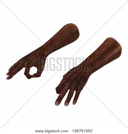 Wrinkled on old african man hands on white background. 3D illustration