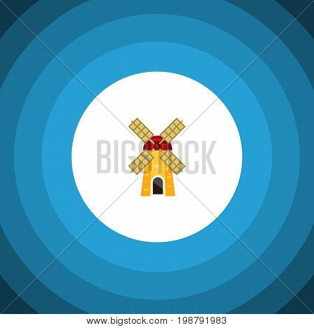 Ecology Vector Element Can Be Used For Windmill, Ecology, Farm Design Concept.  Isolated Turbine Flat Icon.