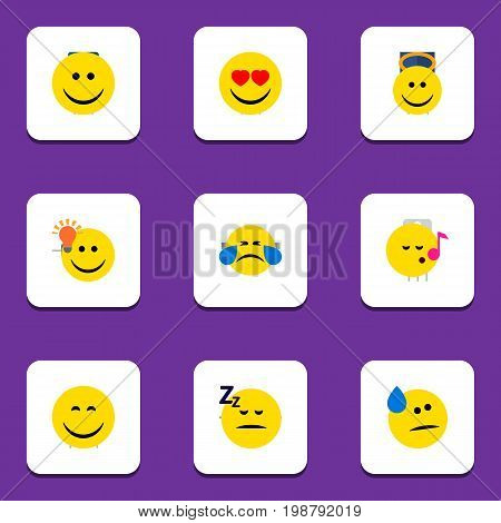 Flat Icon Expression Set Of Have An Good Opinion, Tears, Love And Other Vector Objects
