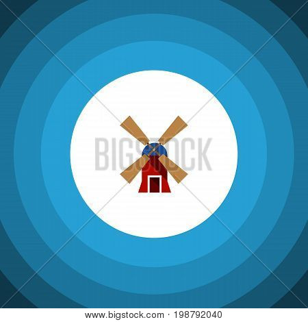 Wind Energy Vector Element Can Be Used For Wind, Energy, Mill Design Concept.  Isolated Rural Flat Icon.