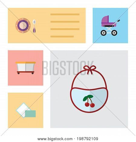 Flat Icon Kid Set Of Napkin, Pinafore, Baby Plate And Other Vector Objects
