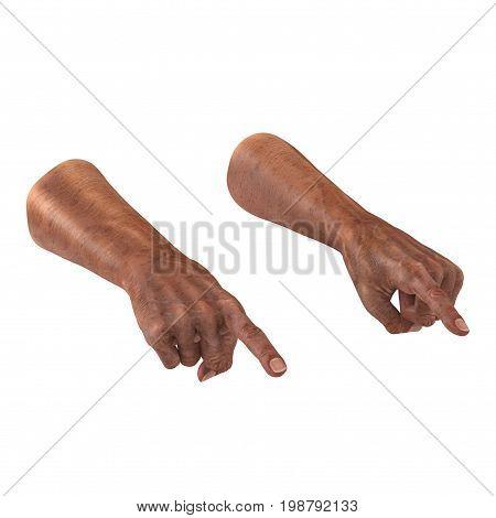 Old man hands on a white background. 3D illustration