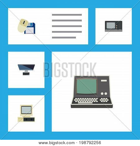 Flat Icon Computer Set Of Vintage Hardware, PC, Computer And Other Vector Objects