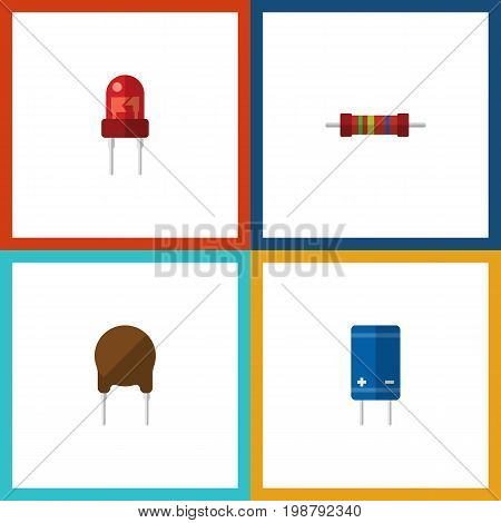 Flat Icon Technology Set Of Recipient, Transistor, Resistance And Other Vector Objects