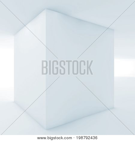 3D  White Empty Interior With Cube Shaped Column