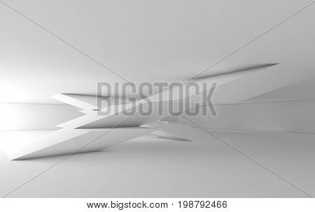 Abstract White Empty Interior, 3D Cg Background
