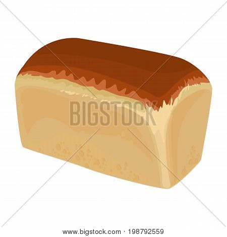Fresh out of oven loaf of white bread with light crust and browned top part realistic style isolated vector illustration on white. Angled view