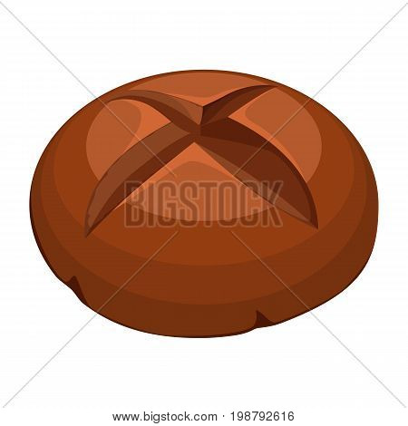 Big round loaf of fresh-baked whole wheat bread with dark brown crust realistic style isolated vector illustration on white background
