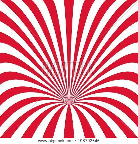 Curved ray burst background - vector illustration from red and white curved stripes