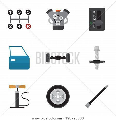 Flat Icon Auto Set Of Tire, Muffler, Automobile Part And Other Vector Objects