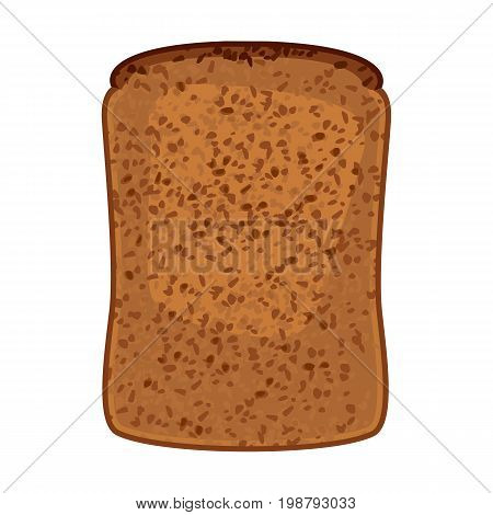Closeup of slice of wholemeal bread isolated vector illustration. Bakery product made of flour milled from whole or almost-whole wheat grains in ealistic style