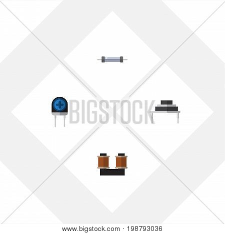 Flat Icon Appliance Set Of Coil Copper, Destination, Resistor And Other Vector Objects