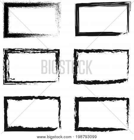 Set of abstract frames for photos or pictures, vector frame painted by hand drawing, Grunge Black and White Borders isolated on the transparent background. Dirt effect.